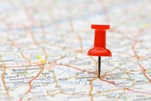 Pushpin marking location on map