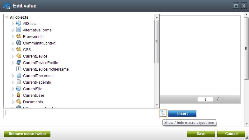 Kentico CMS: Edit Value Dialog Box: Macro Object Tree